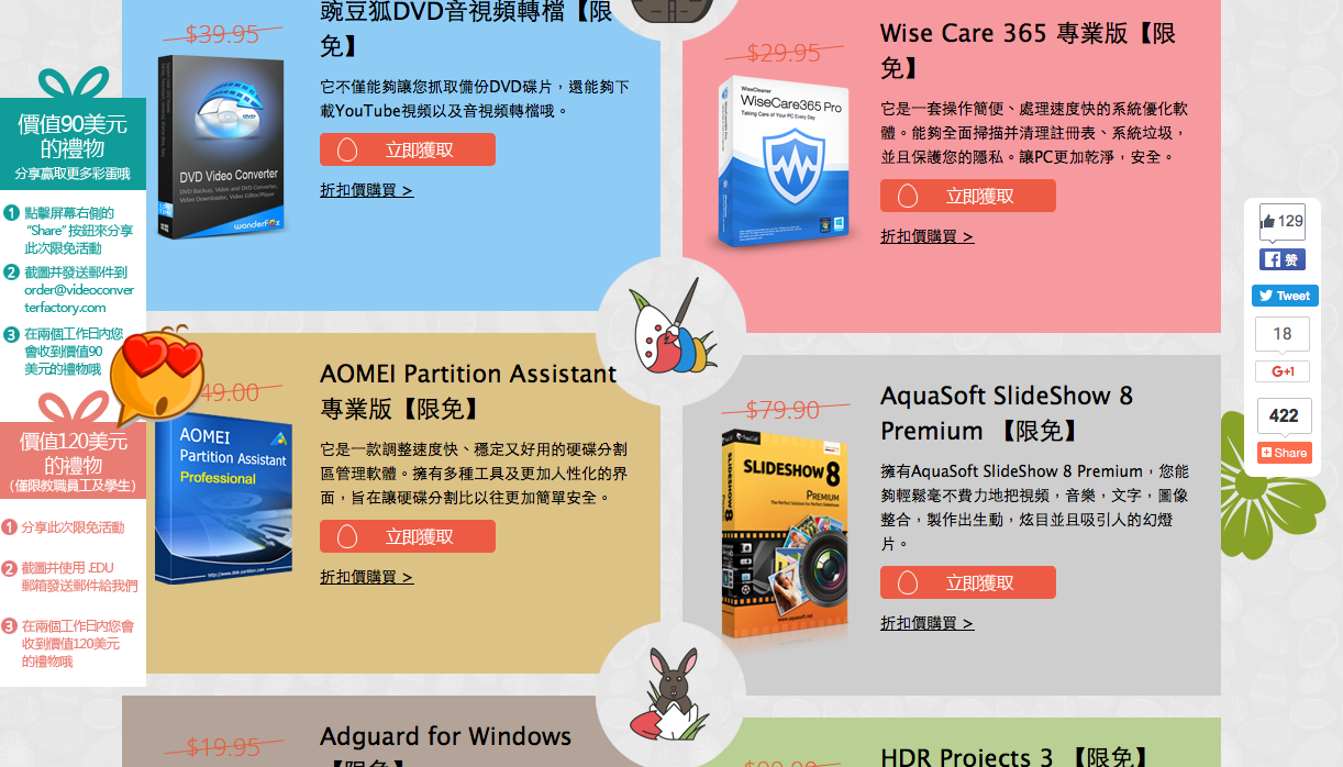 WonderFox 復活節瘋狂限免活動 (總價值440美元) Wise Care 365 Pro、AOMEI Partition Assistant Pro、MiniTool Power Data Recovery……